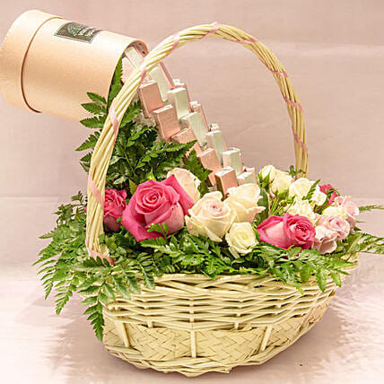 Chocolate Fall In Flower Basket: Valentine's Day Gift Delivery in Qatar