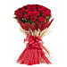 Passion love - Bunch of 50 Red roses in dual colour jute packing.