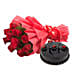 Red Rose with Cake - Bouquet of 10 red roses and 500 grams of chocolate truffle cake.