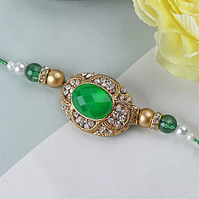 Green Emerald Stone Rakhi SAI: Send Rakhi to Saint Lucia
