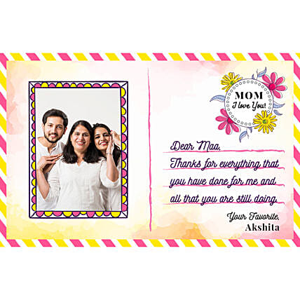 Personalised Love You Mom E Postcard: Send Mothers Day Gifts to Saudi Arabia