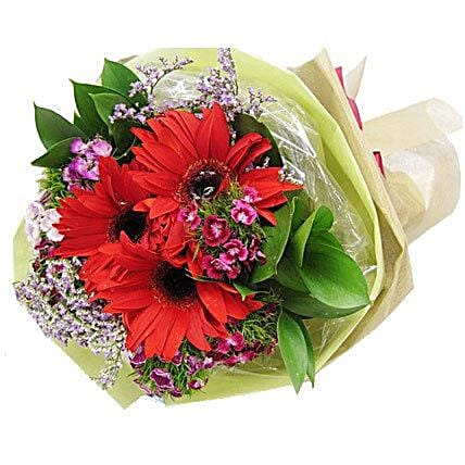 Red Gerbera Bouquet: Send Friendship Day Flowers to Singapore