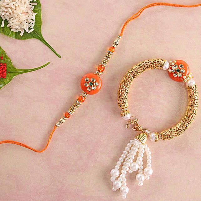 Glittering Orange Lumba Rakhi Set: