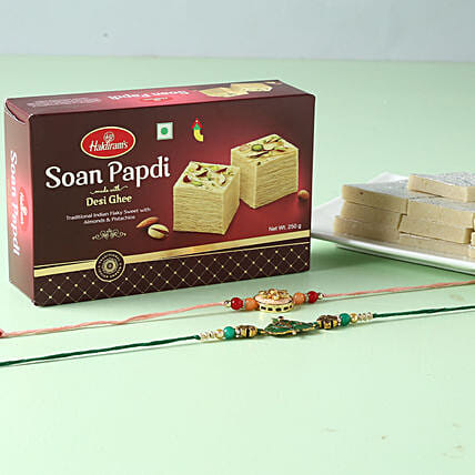 Designer Rakhi And Sweets Hamper: Set of 2 Rakhi to Singapore