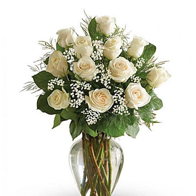 12 White Roses Arrangement: Flower Arrangements to Singapore