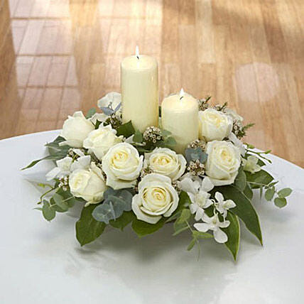 Center Table Arrangement: Funeral Flowers to Singapore