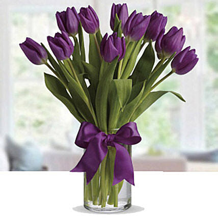 Purple Tulip Arrangement: Send New Year Gifts to Singapore