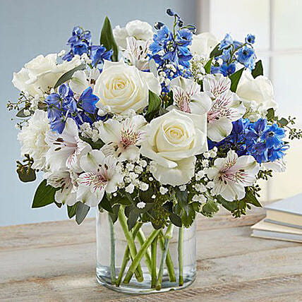 Blue and White Floral Bunch In Glass Vase: Send Carnation Flower to Singapore