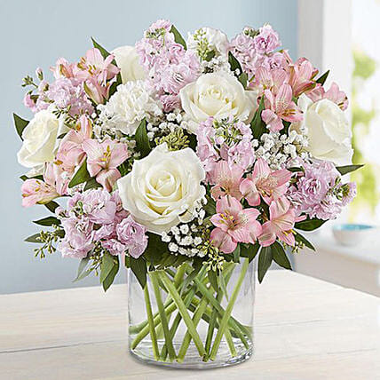 Pink and White Floral Bunch In Glass Vase: Carnations