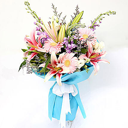 Sweet Gerberas and Lavender Flower Bouquet: Lilies in Singapore