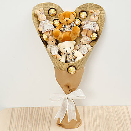 Chocolates and Teddy Bear Bouquet: Send Chocolate to Singapore