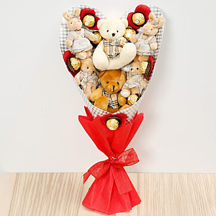 Chocolates and Teddy Bear Heart Shaped Bouquet: Karwa Chauth Gifts Singapore