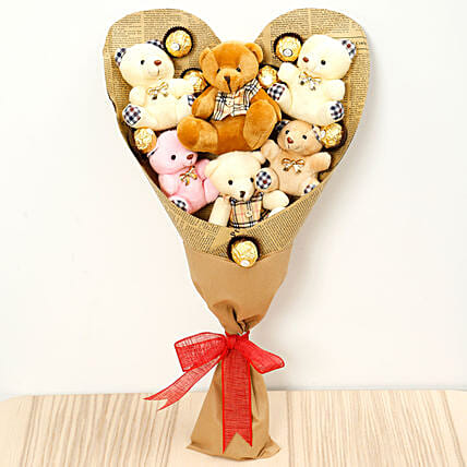Heart Shaped Teddy Bear and Chocolate Bouquet: Send Chocolate to Singapore
