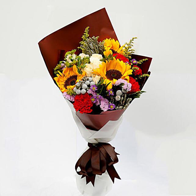 Joyful Bouquet Of Mixed Flowers: Send Carnation Flower to Singapore