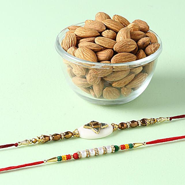 Colorful Rakhi Combo With Almonds: Pearl Rakhi to Singapore