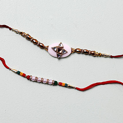 Cheerful Designer Rakhis For Brother: Set of 2 Rakhi to Singapore