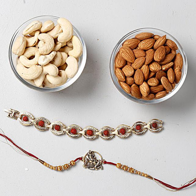 Shining Rakhis And Dry Fruits Special Combo: Devotional Rakhi to Singapore