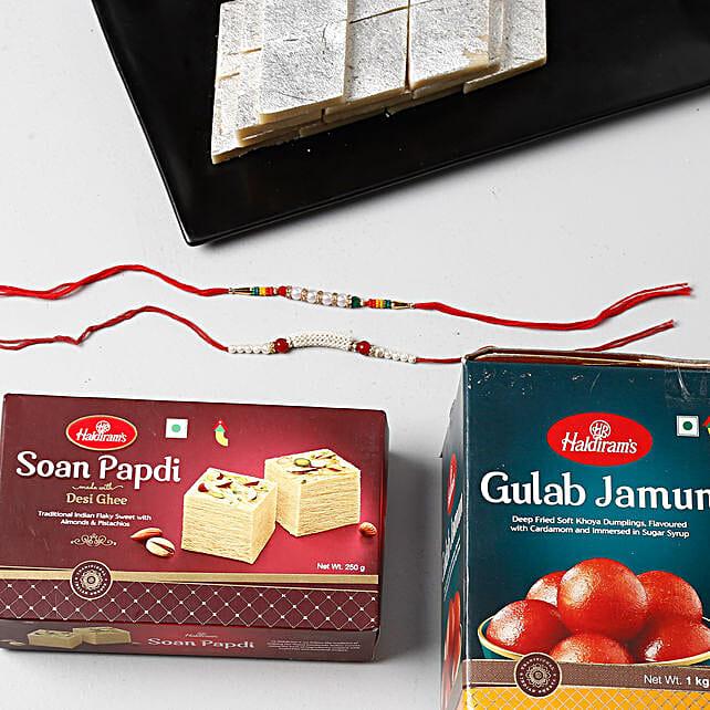 Special Rakhi Celebration Combo Pack: Pearl Rakhi to Singapore