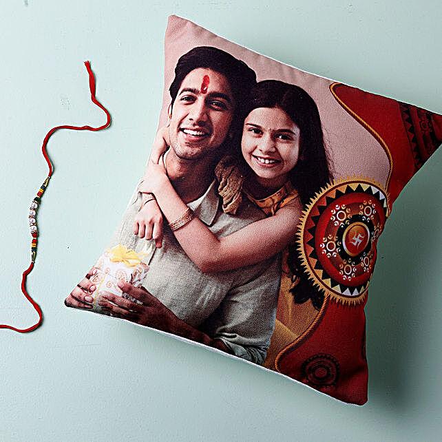 Rakhi And Personalised Photo Cushion: