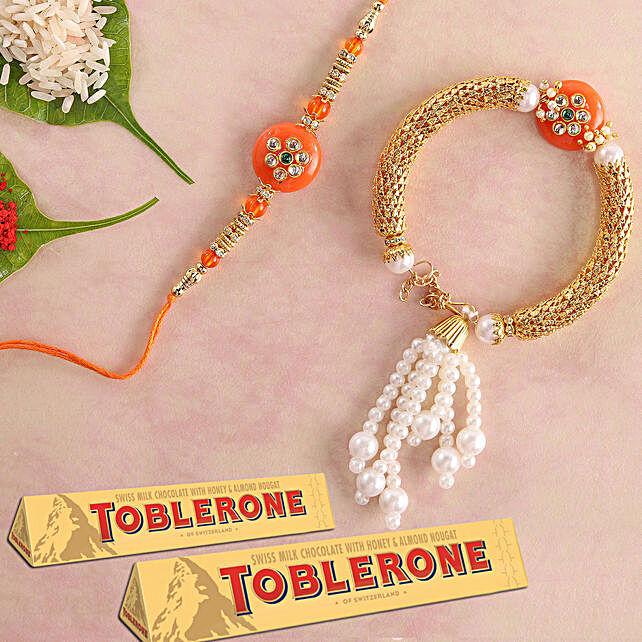 Bhaiya Bhabhi Rakhi Set And Toblerone: Gifts to Singapore Same Day Delivery