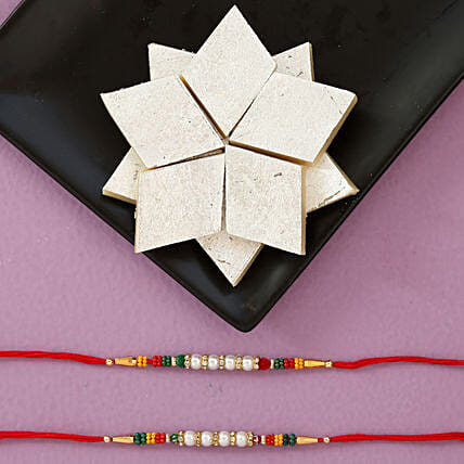 Colourful Rakhis And Kaju Katli 250 Gms Combo: