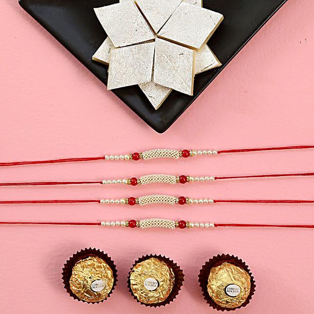 Elegant Rakhi Set With Kaju Katli And Chocolates: Set of 4 Rakhi to Singapore