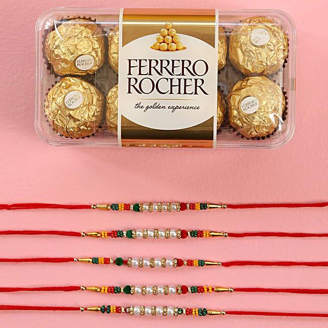 Pearl Rakhi Set And Ferrero Rocher Chocolates: Set of 5 Rakhi to Singapore