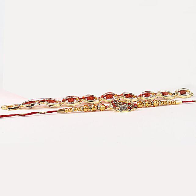 Embellished Rakhi Set of 2 In Red Box: Send Amrican Diamong Rakhi to Singapore