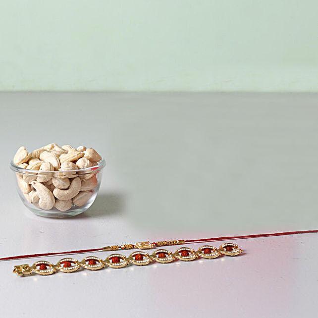 Set Of 2 Designer Rakhis And Cashews Combo: Rakhi Combos to Singapore