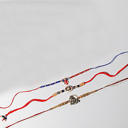 Set Of Three Auspicious Rakhis: Set of 3 Rakhi to Singapore