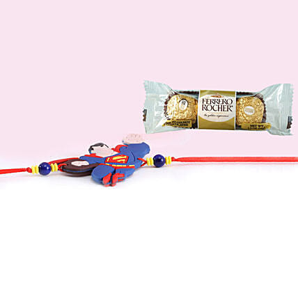 Superman Rakhi And Yummy Rocher Combo: Gifts to Singapore Same Day Delivery
