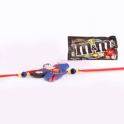 Superman Rakhi With M And M Chocolate Combo: Gifts to Singapore Same Day Delivery