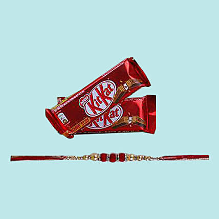 Beaded Rakhi With Kit Kat: Mauli Rakhi to Singapore