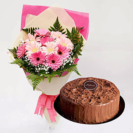 Chocolate Cake and Pink Gerbera Bouquet: Send Flower Bouquet to Singapore