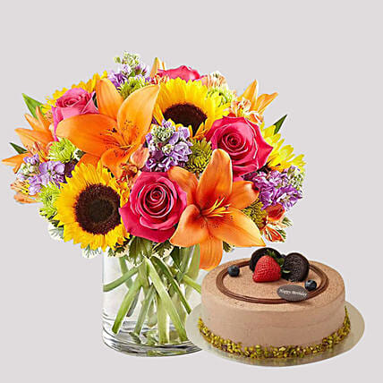Chocolate Cake and Vivid Floral Vase: Chocolate Cake Delivery in Singapore