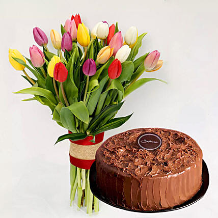 Colourful Tulips Bunch and Chocolate Cake: Flower Bouquets