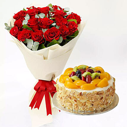 Fruit Cake and Red Rose Bouquet: Flowers & Cakes Singapore