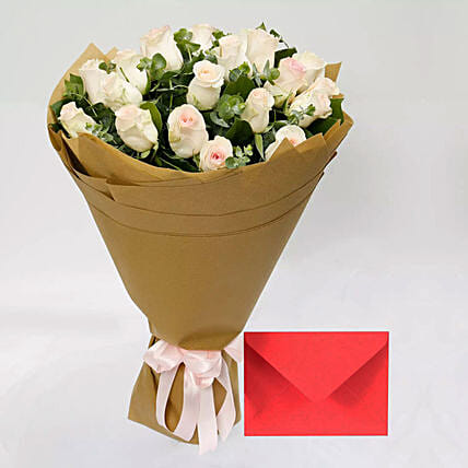 Greeting Card and Peach Rose Bouquet: Gift Combos to Singapore
