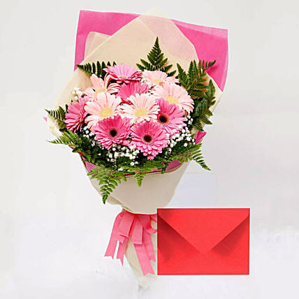 Greeting Card and Pink Gerbera Bouquet: Gift Combos to Singapore