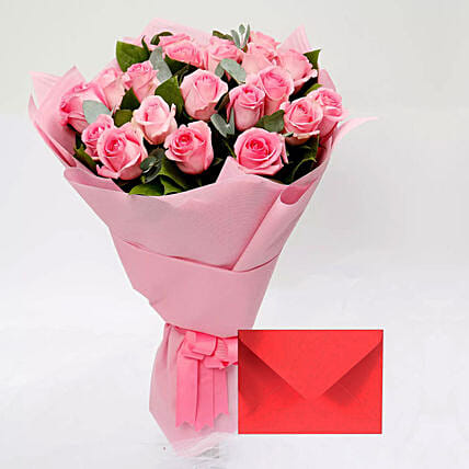Greeting Card and Pink Rose Bouquet: Gift Combos to Singapore