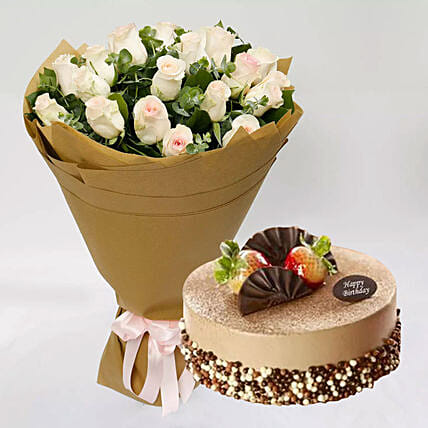 Mocha Cake and Peach Rose Bouquet: Send Flower Bouquet to Singapore