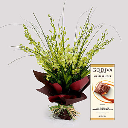 Mokara Orchid Bouquet and Godiva Chocolates: Send Chocolate to Singapore