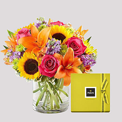 Patchi Chocolate Box and Vivid Floral Vase: Send Chocolate to Singapore