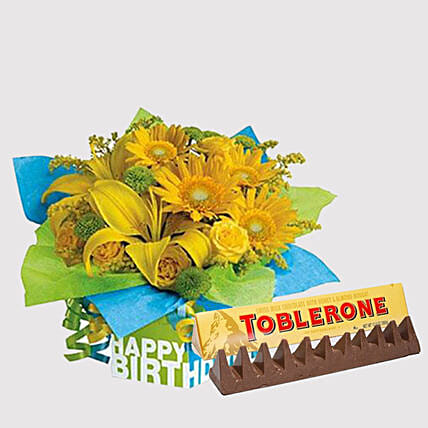 Toblerone and Sunshine Floral Combo: Flowers and Chocolates Delivery in Singapore