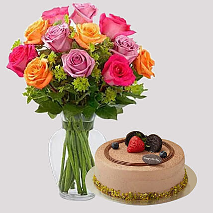 Bright Roses and Chocolate Cake Combo: Flowers & Cakes Singapore