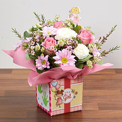 Its A Girl Flower Vase: New Arrival Gifts Singapore