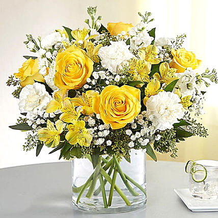Yellow and White Mixed Flower Vase: Carnations