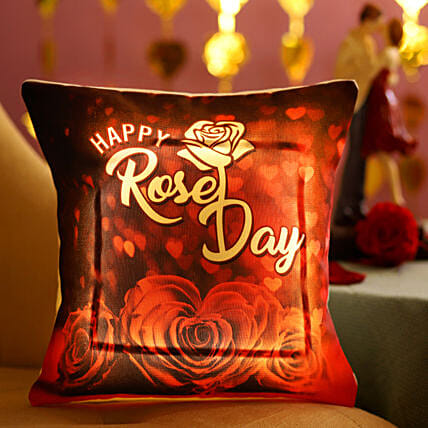 Rose Day Printed LED Cushion: Rose Day Gift Delivery in Singapore