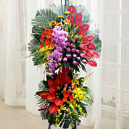 Colourful Exotic Flower Arrangement: Sympathy and Funeral Flower Singapore