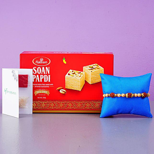 Rudraksha Regular Rakhi And Soan Papdi Combo: Rakhi Delivery in Singapore